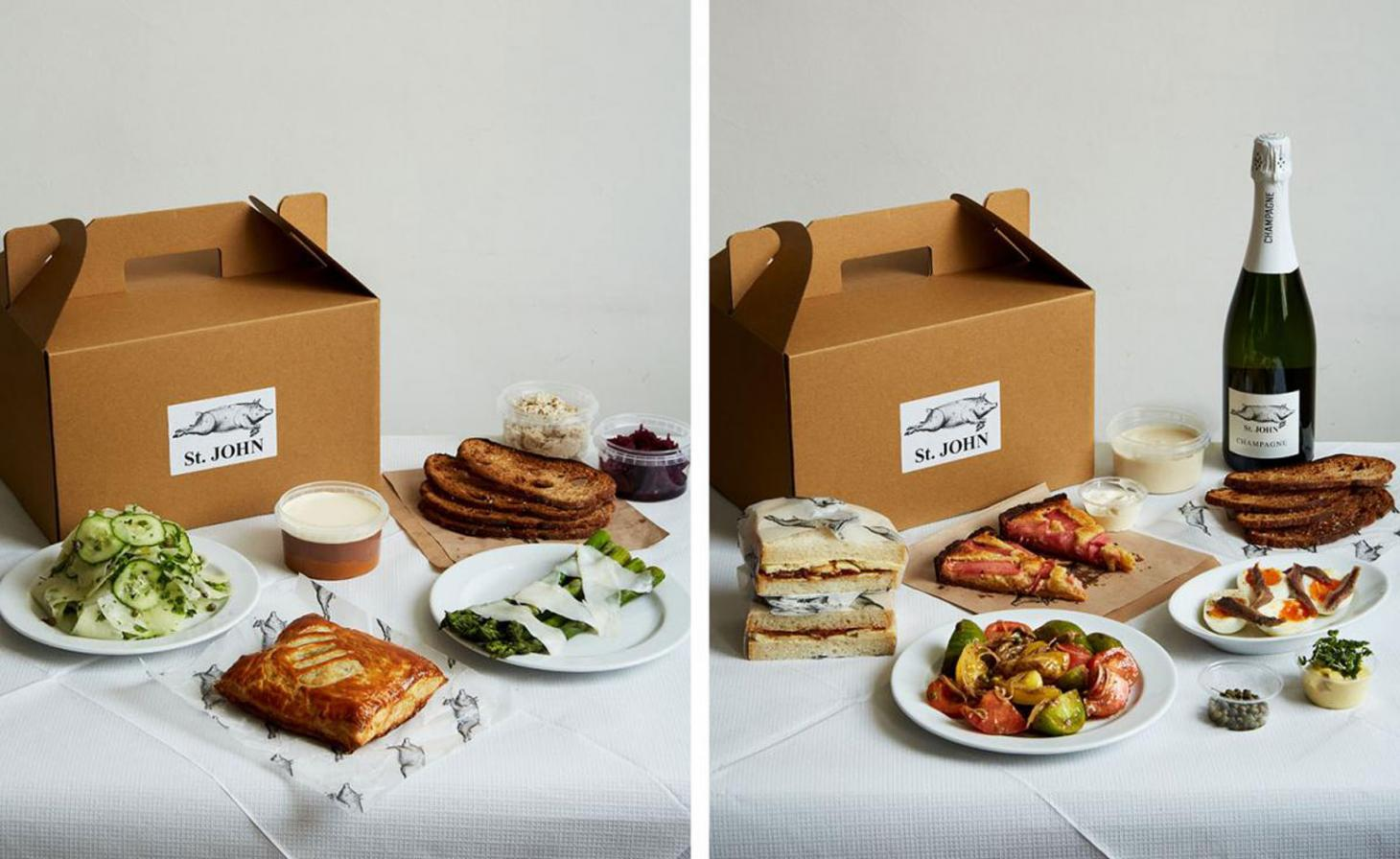 Two picnic spreads from st John's with meats and cheeses