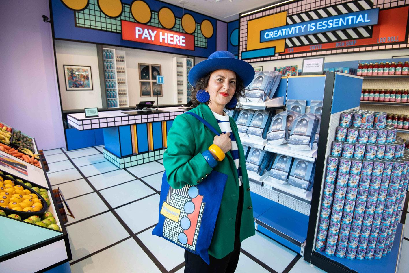 Camille Walala pictured inside 'Supermarket' at London's Design Museum