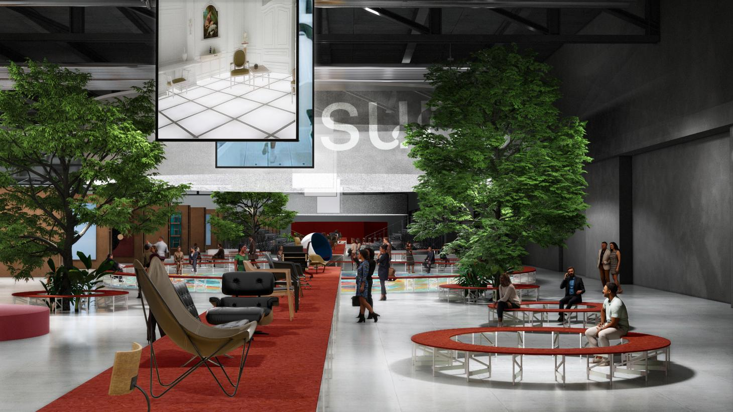 A render showing Supersalone, the Salone del Mobile 2021 concept led by Stefano Boeri Salone del Mobile 2021 - Discover Milan Design Week 2021