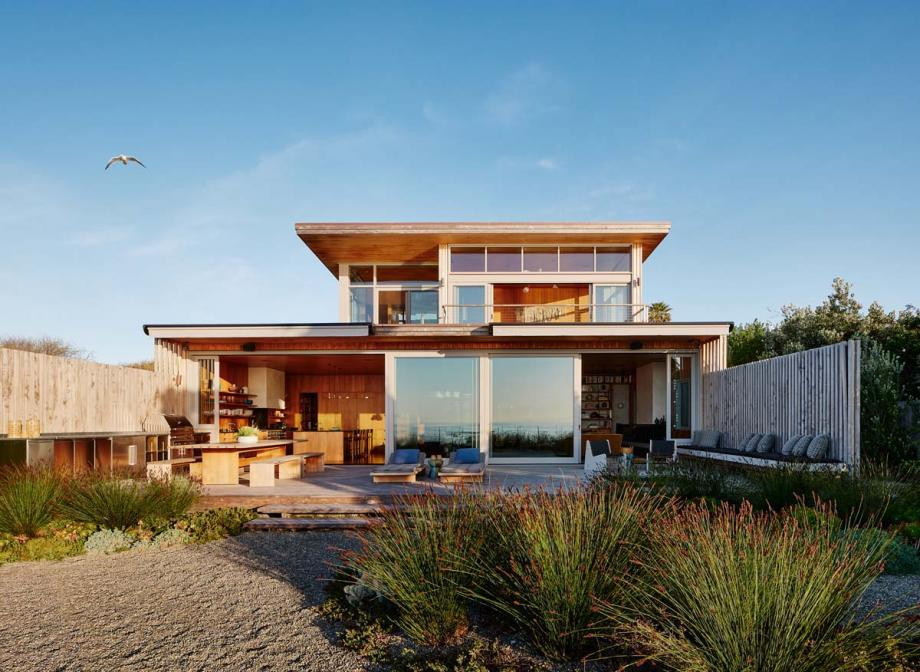 this bohemian surf house sits right on the beach of California