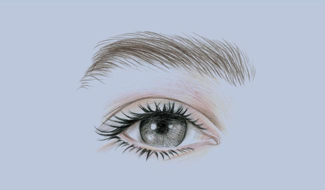 illustrated eye on purple background