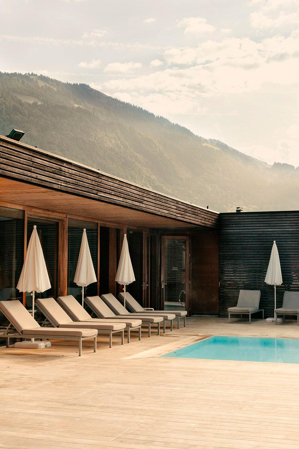 Pool at Susanne Kaufmann spa in Bezau that looks out onto the Alps