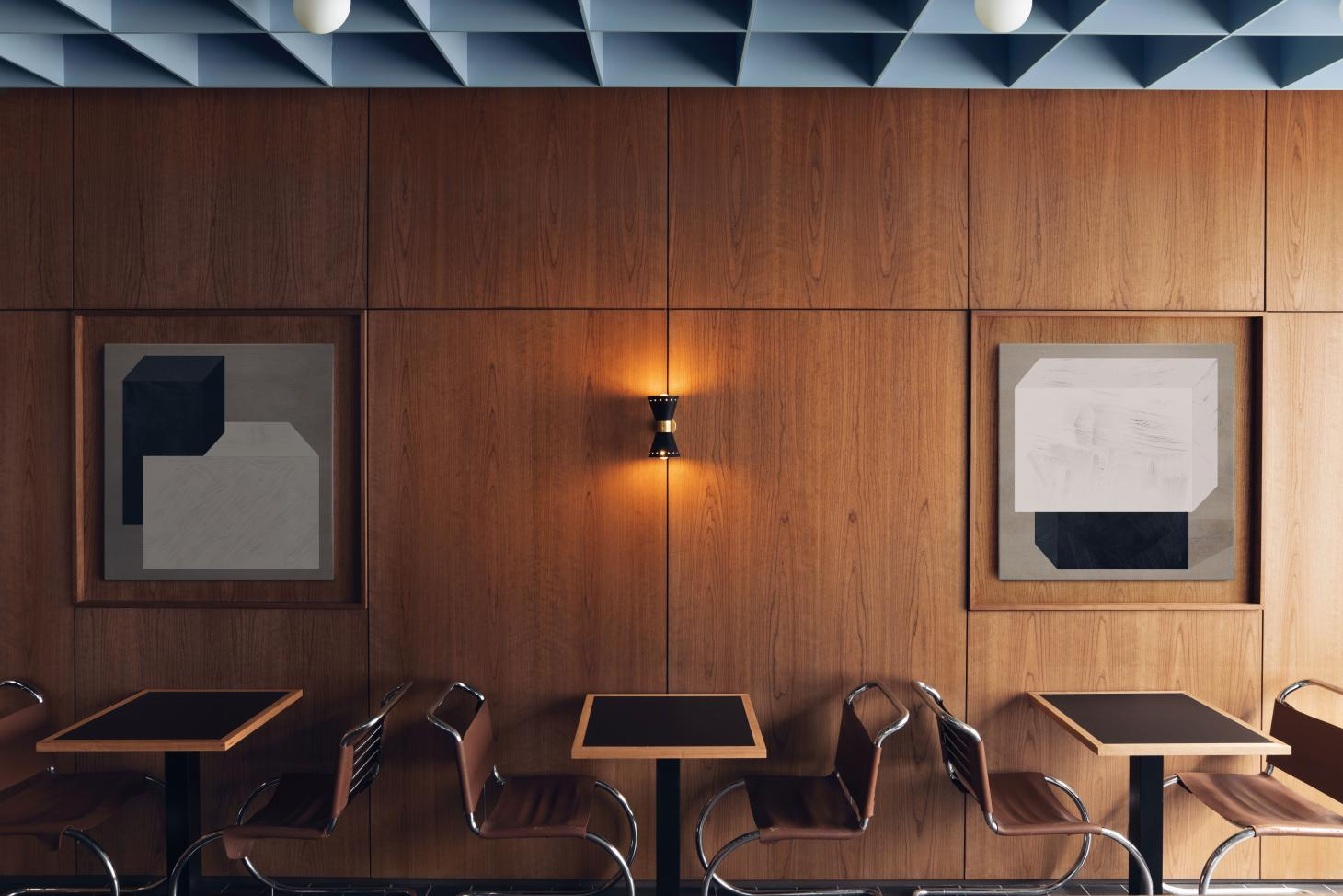 dark cherry wood paneling and modernist furniture in London space designed by Child Studio for Maido Sushi