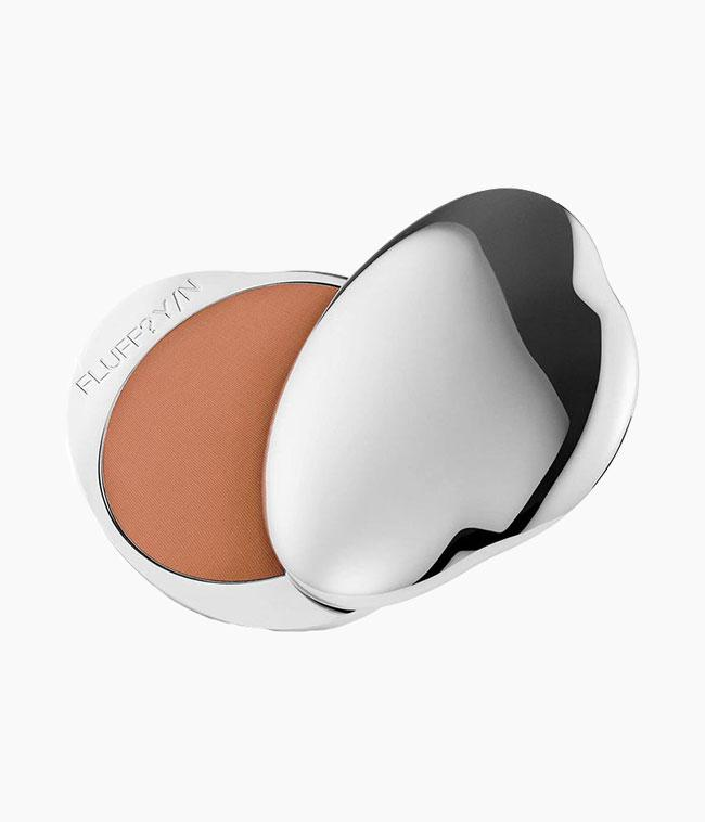 Fluff vegan makeup bronzing powder in refillable silver compact