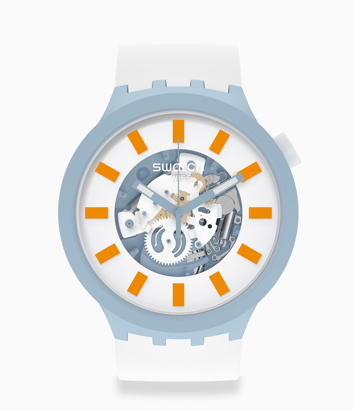 Swatch watch in white and blue made from recycled plastic and ceramic