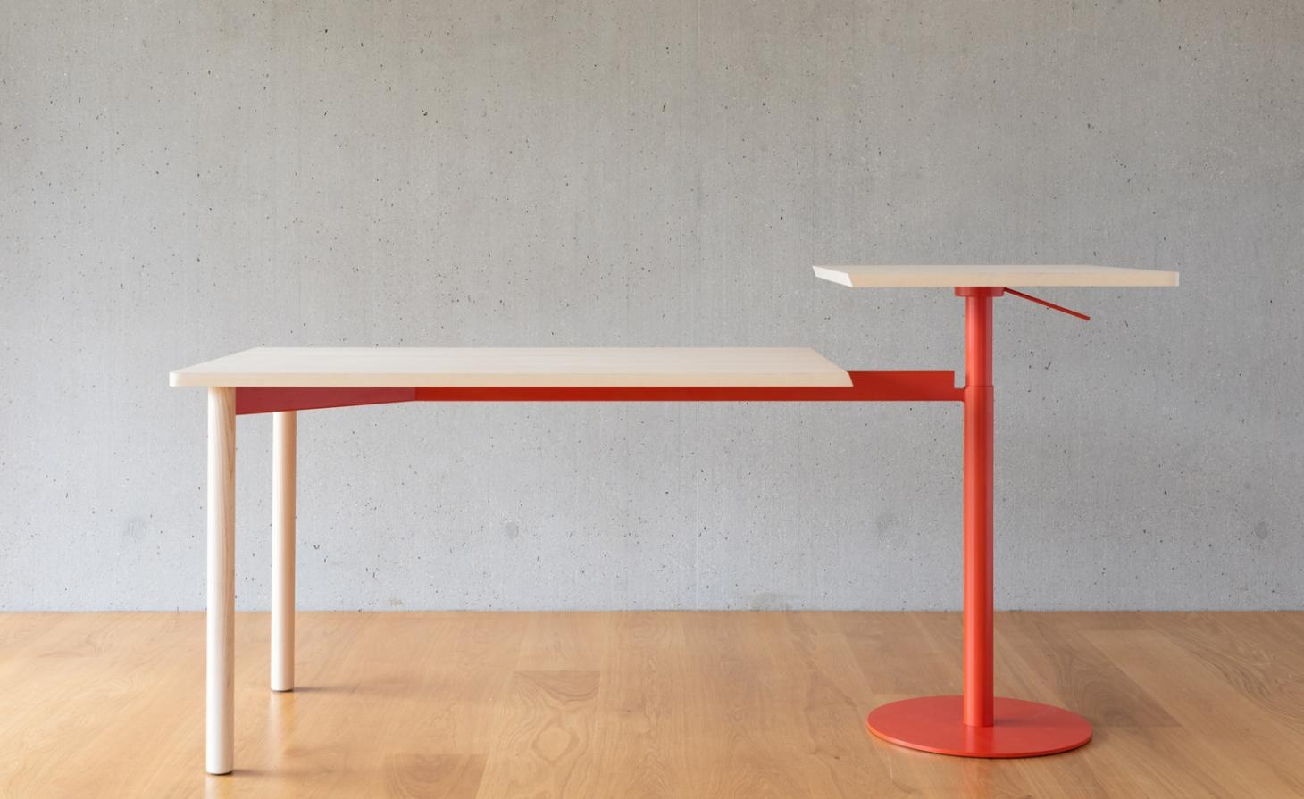 table with red legs