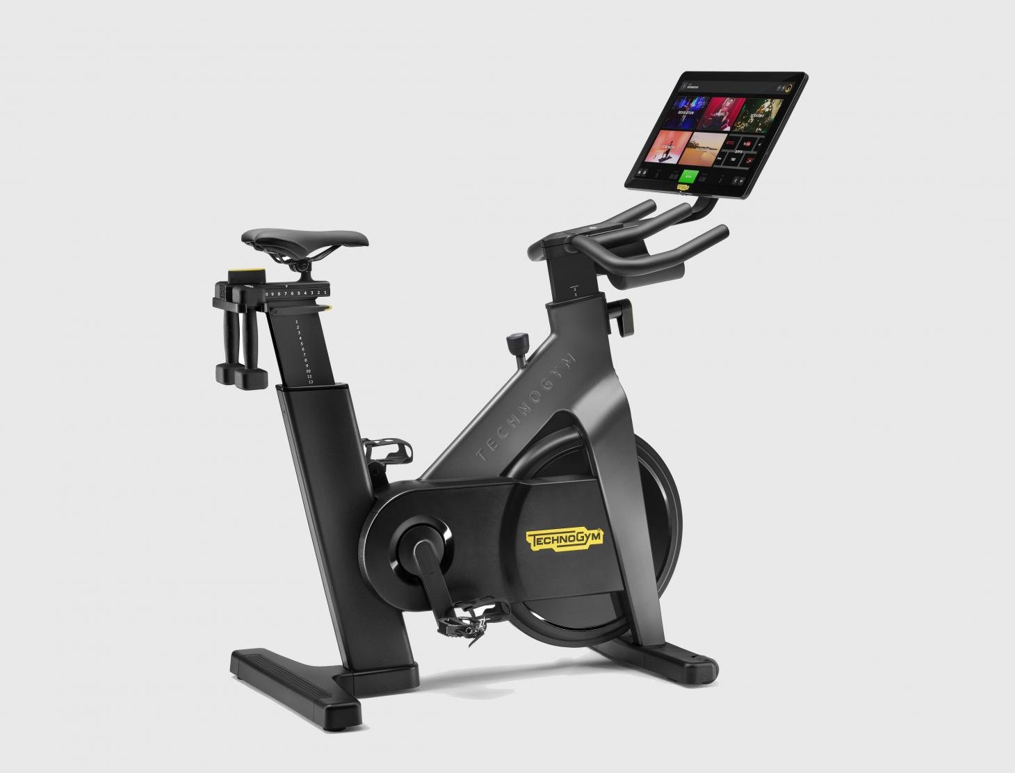 Black Technogym electric bicycle with monitor
