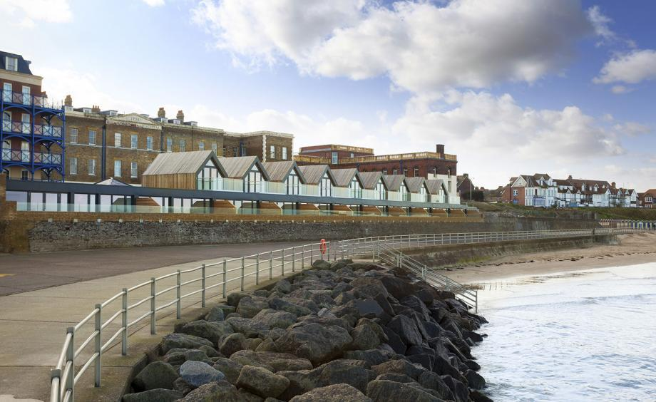 Margate Beach Houses by Guy Hollaway, pictured near the rocks in this British coastal town