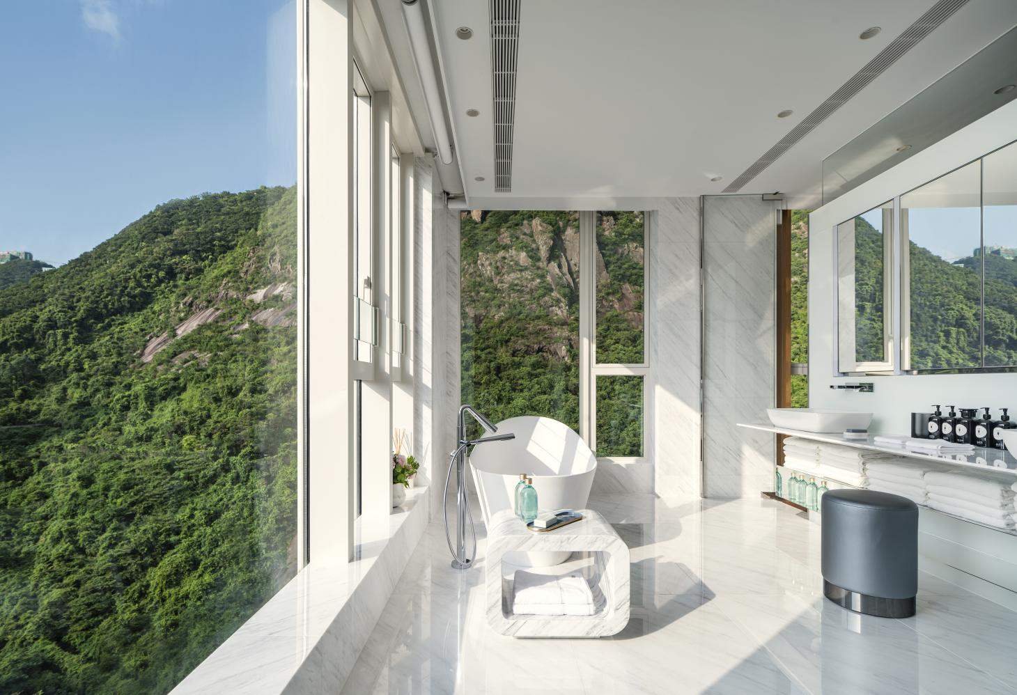 The bathroom with views of Victoria Peak in Hong Kong