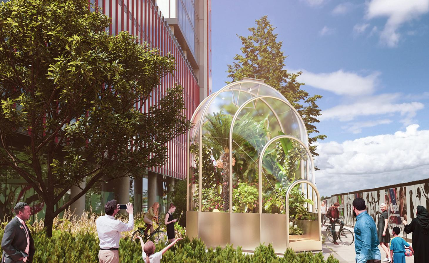 Hot House by Studio Weave greenhouse installation at Westfield Stratford