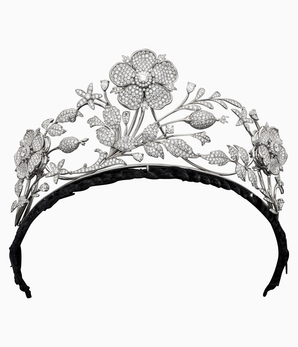 Large diamond flower tiara against a pale grey background