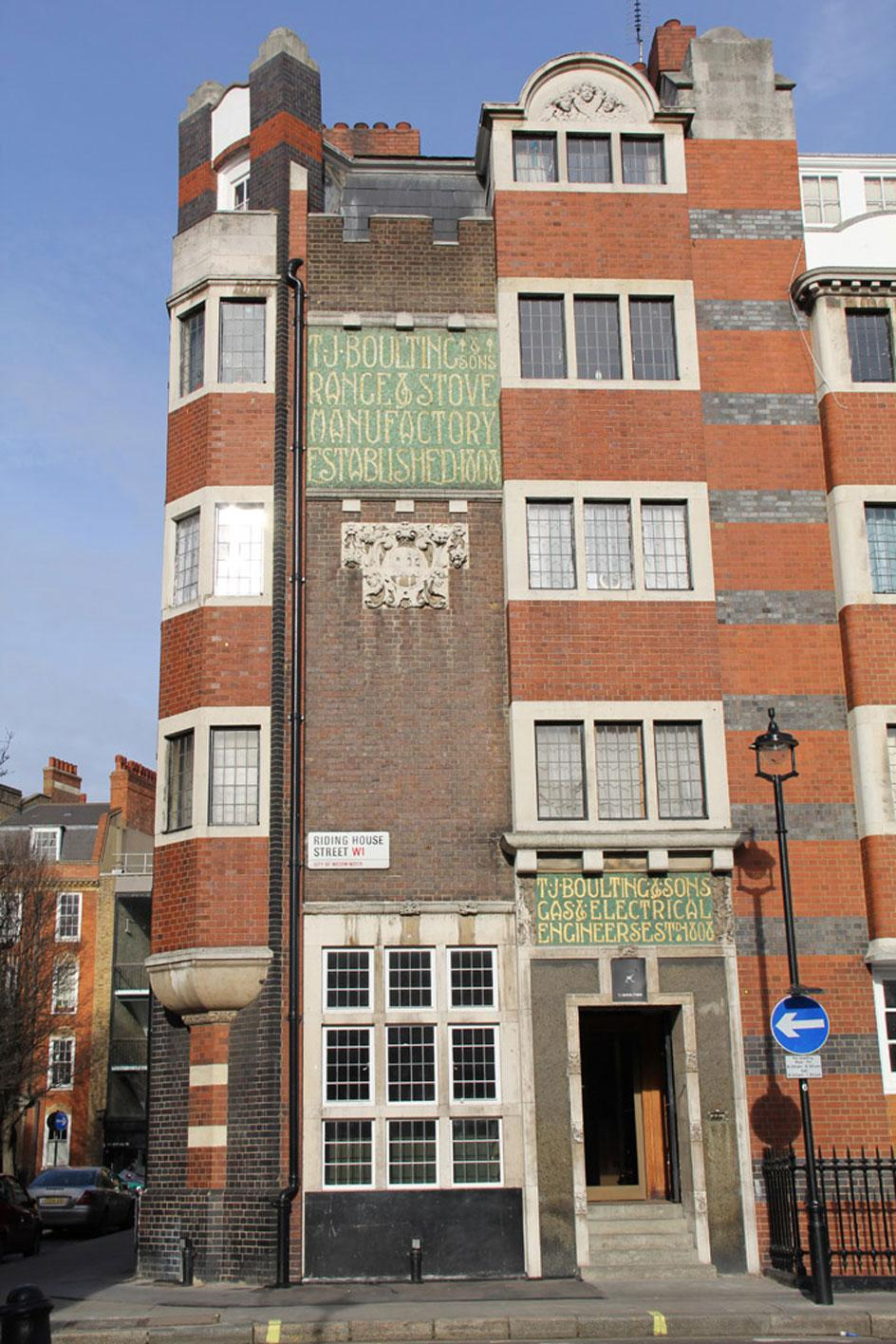Exterior view of TJ Boulting gallery in Fitzrovia London