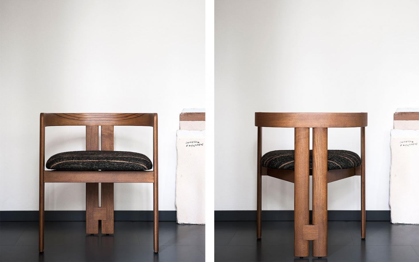 """Front and back view of the Pigreco chair by Tobia Scarpa, featuring two """"sister legs"""" joined at the back for extra stability"""
