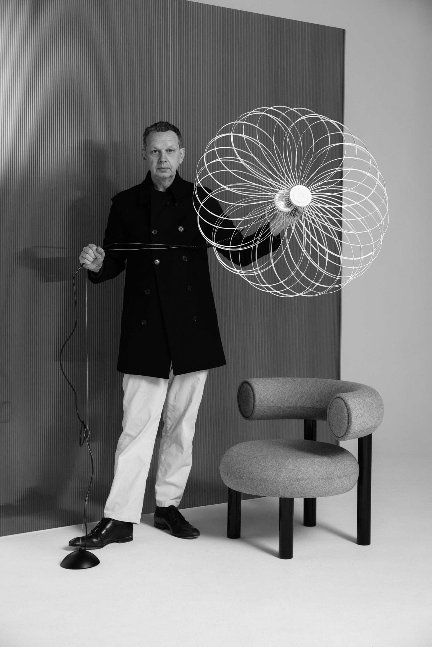 Tom Dixon with Spring light and Fat chair 2019, photography by Peer Lindgreen