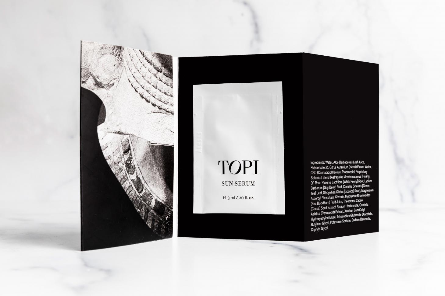 black and white image of envelope that holds Topi climatic skincare