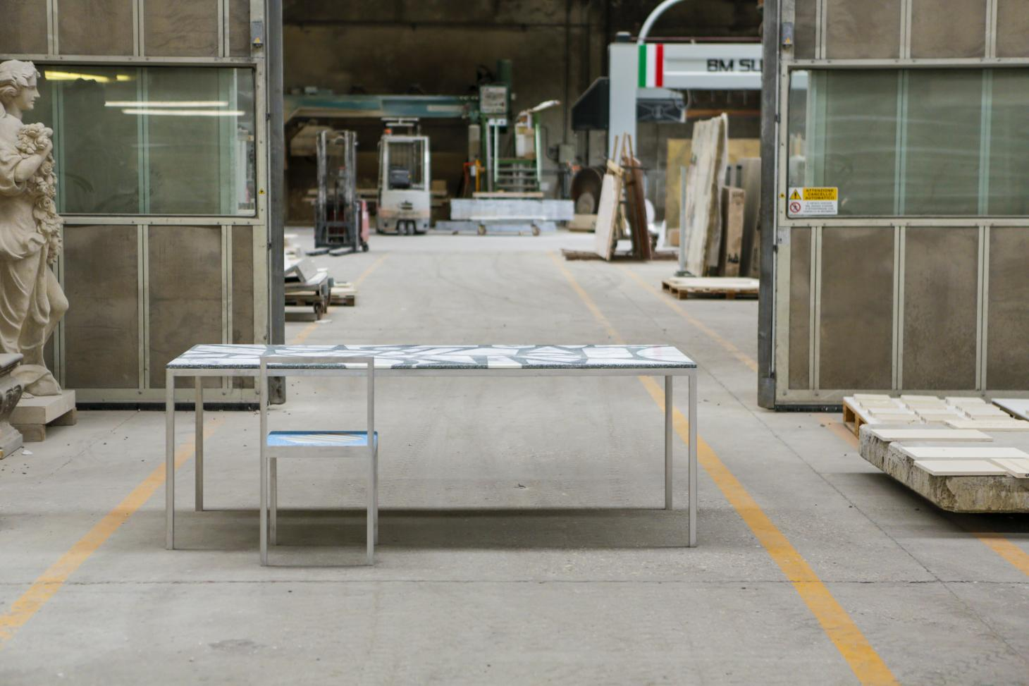 Table and chair by Stefan Scholten seen in factory and designed using offcuts of marble