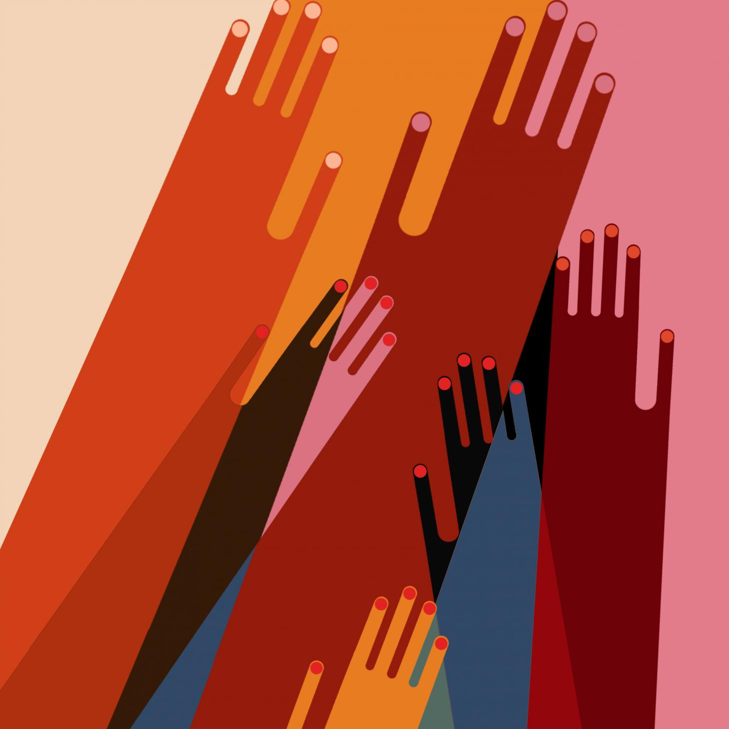 Illustration of hands in different colours intersecting by PL Studio for United in Design