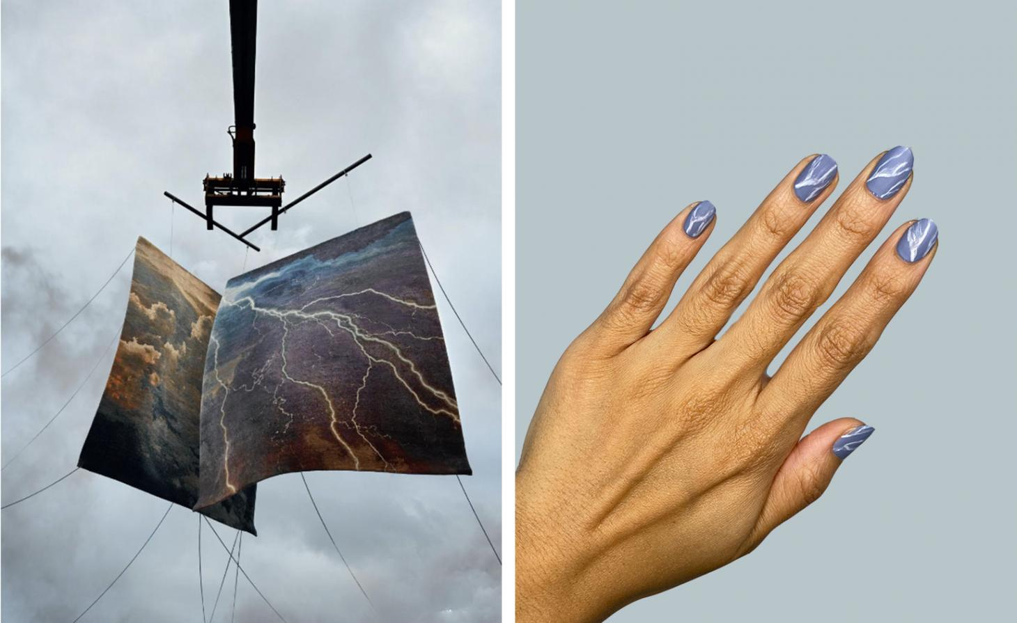 two rugs hanging in the sky, next to nails painted with blue and white stripes