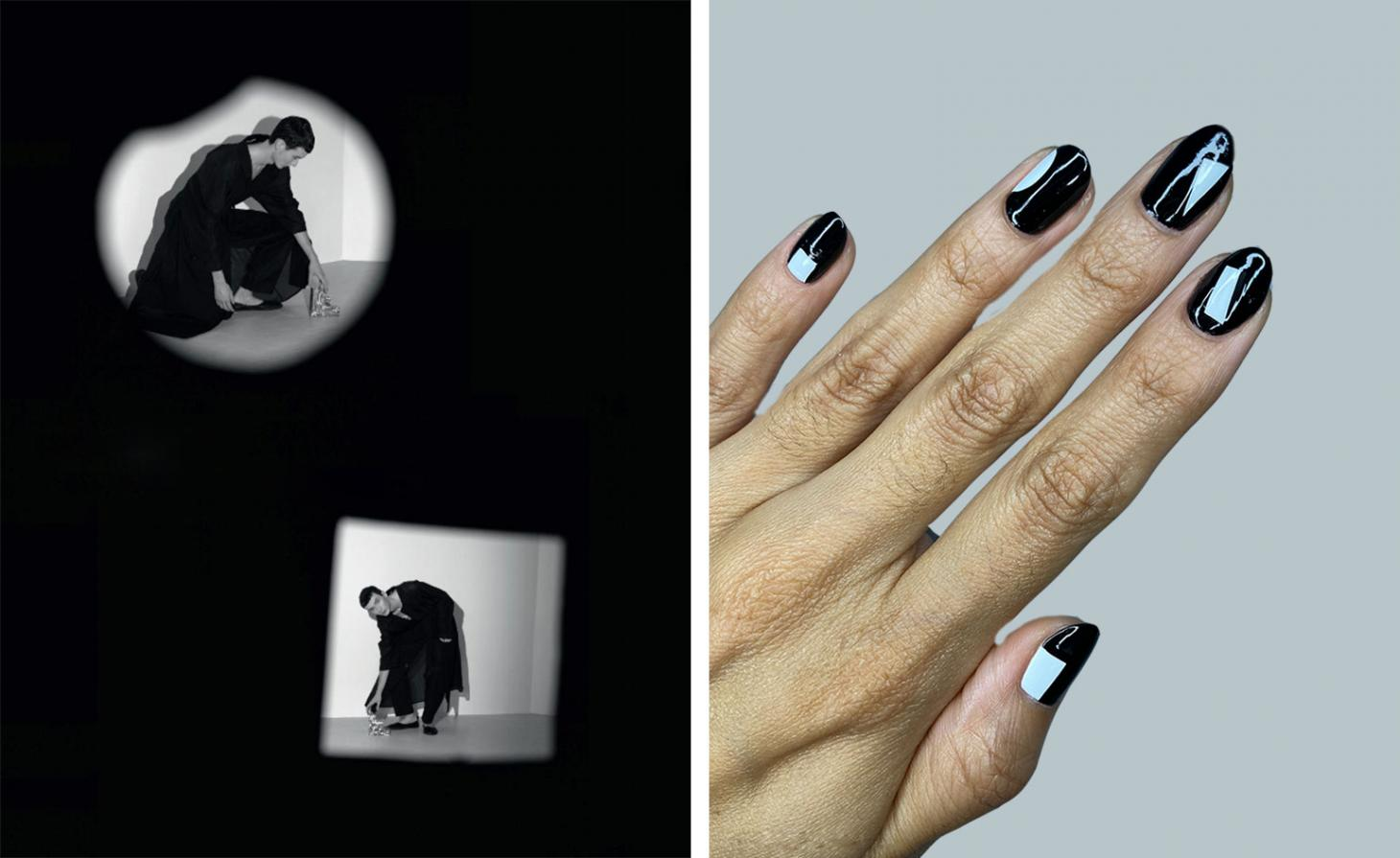 two images of a boy picking up bookends in a black background, black nails painted with white geometric shapes