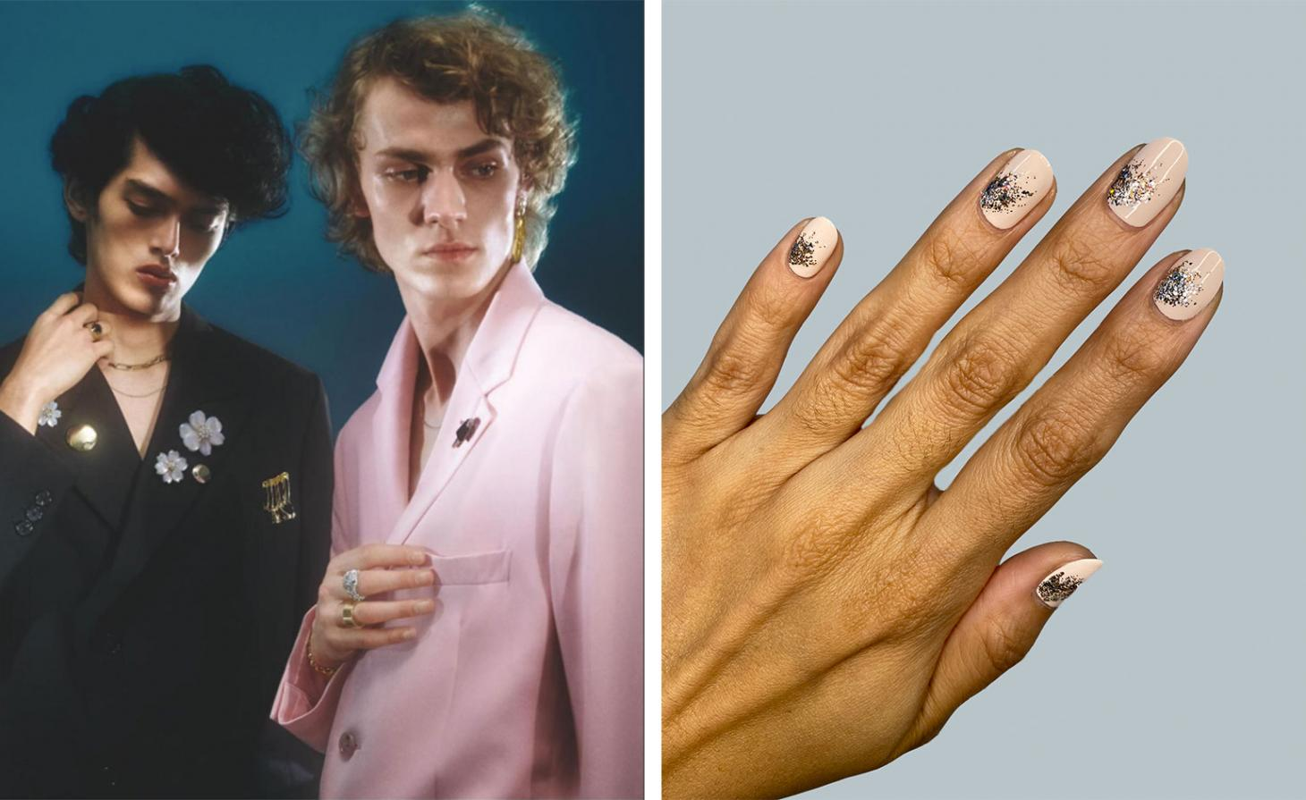 boys in suits next to pink and sparkly nails