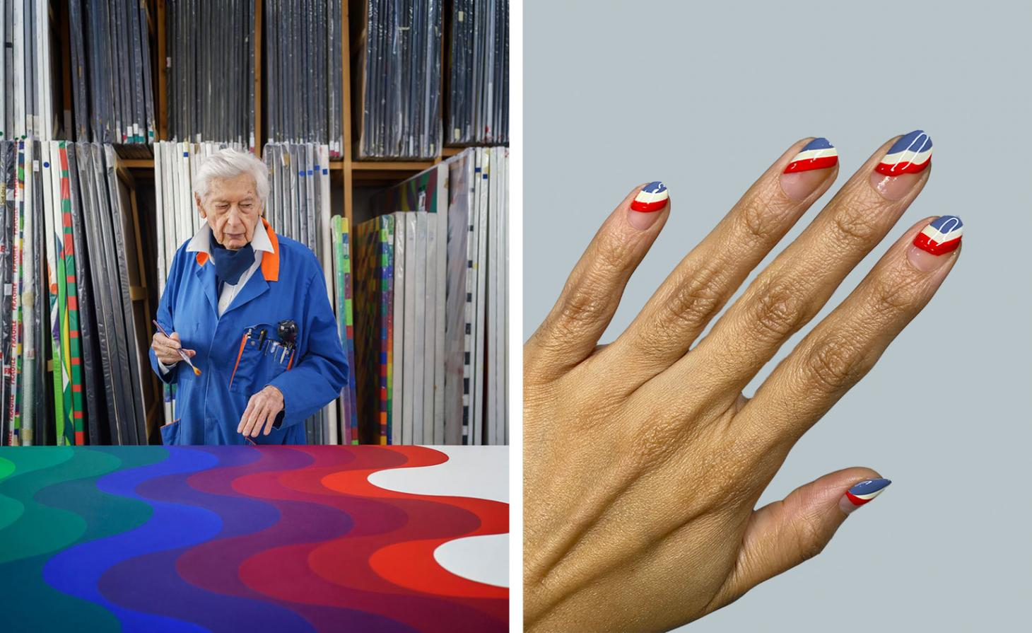 Julio Le Parc in front of canvas next to nails painted with strips