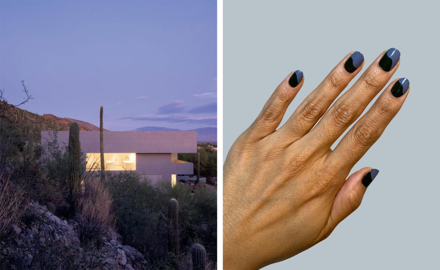 building in the desert next to black and blue nails