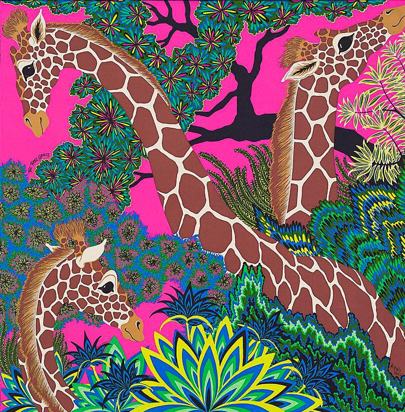 Hermes scarf with giraffes on hot pink background