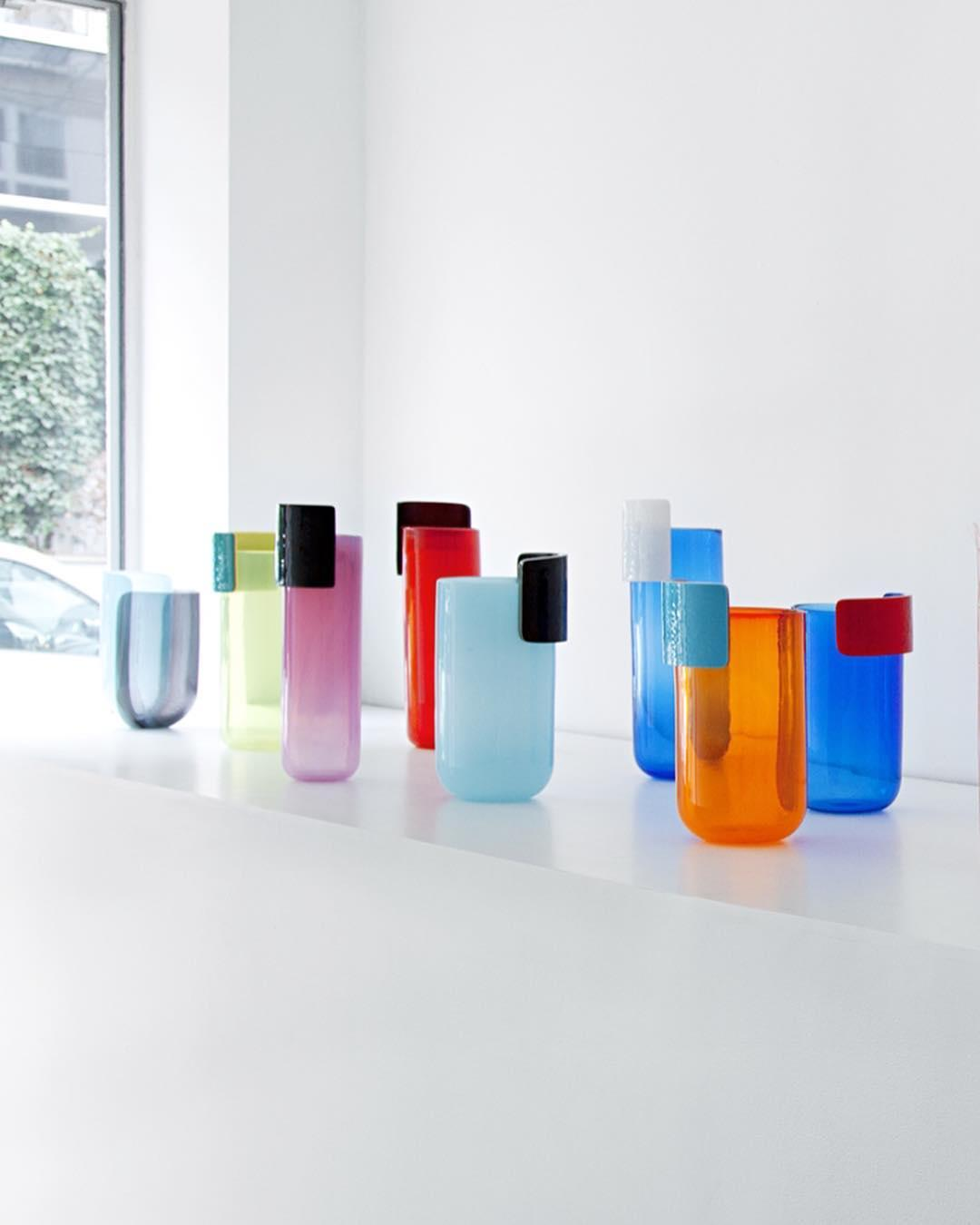 Colourful glass vases by Julie Richoz