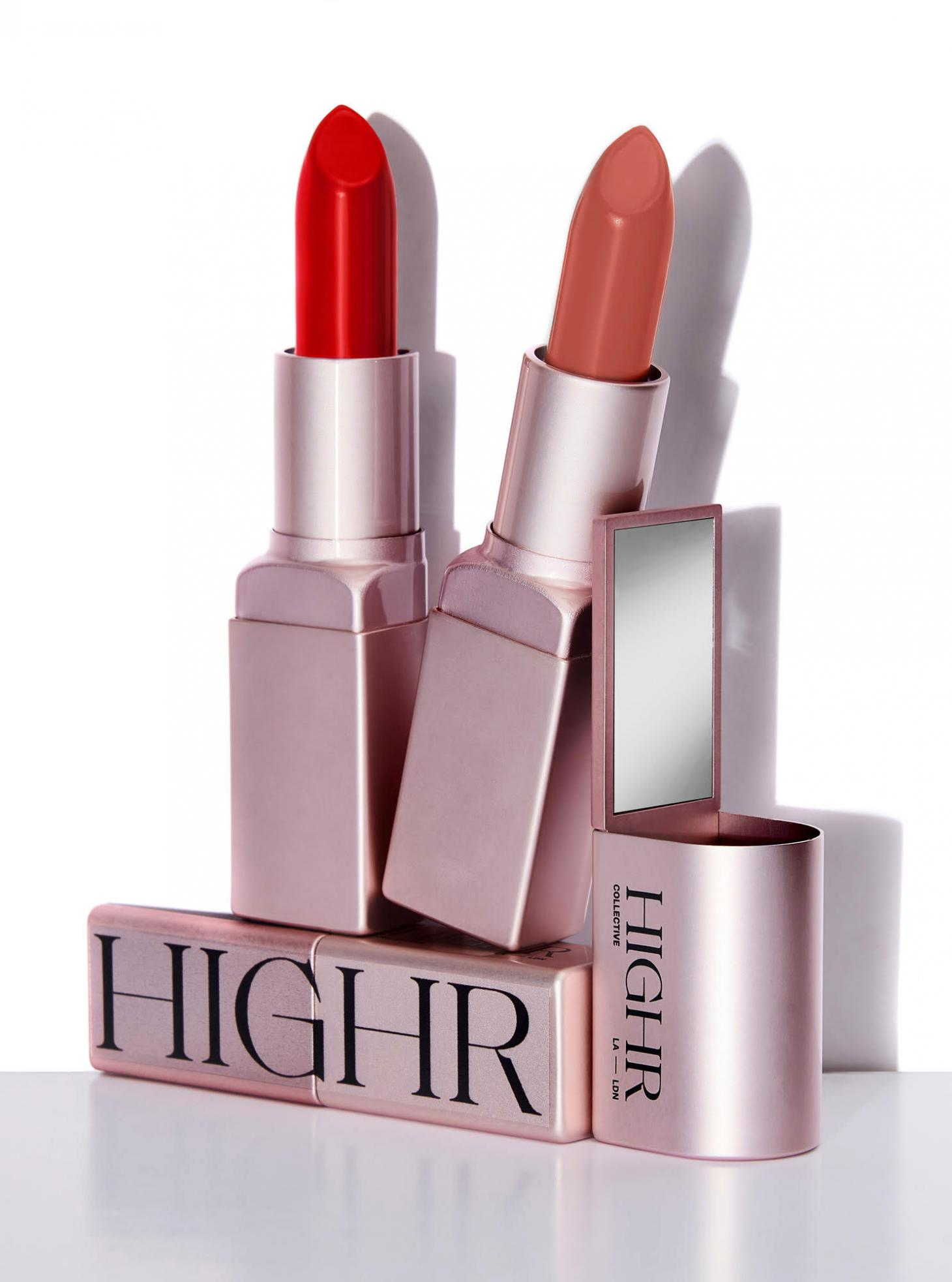 lipsticks by Highr in pink metal cases against white