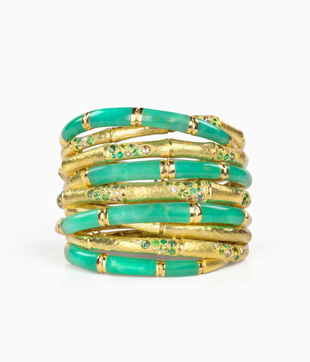 green and gold bracelet forms of gold twists