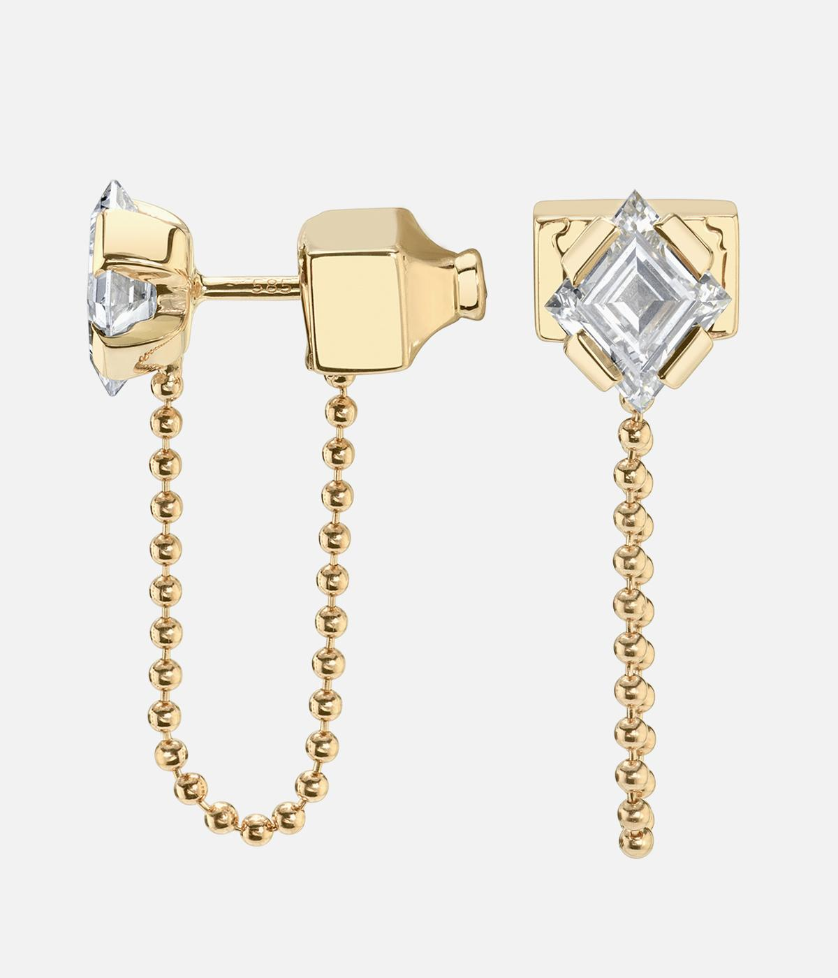 Vrai gold and diamond earrings with small dangling gold chain
