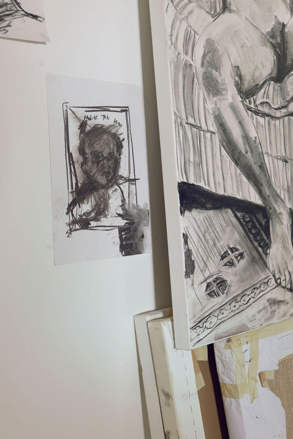 Sketches and drawings inthe studio of artist Kudzanai-Violet Hwami which is in Vauxhall in London