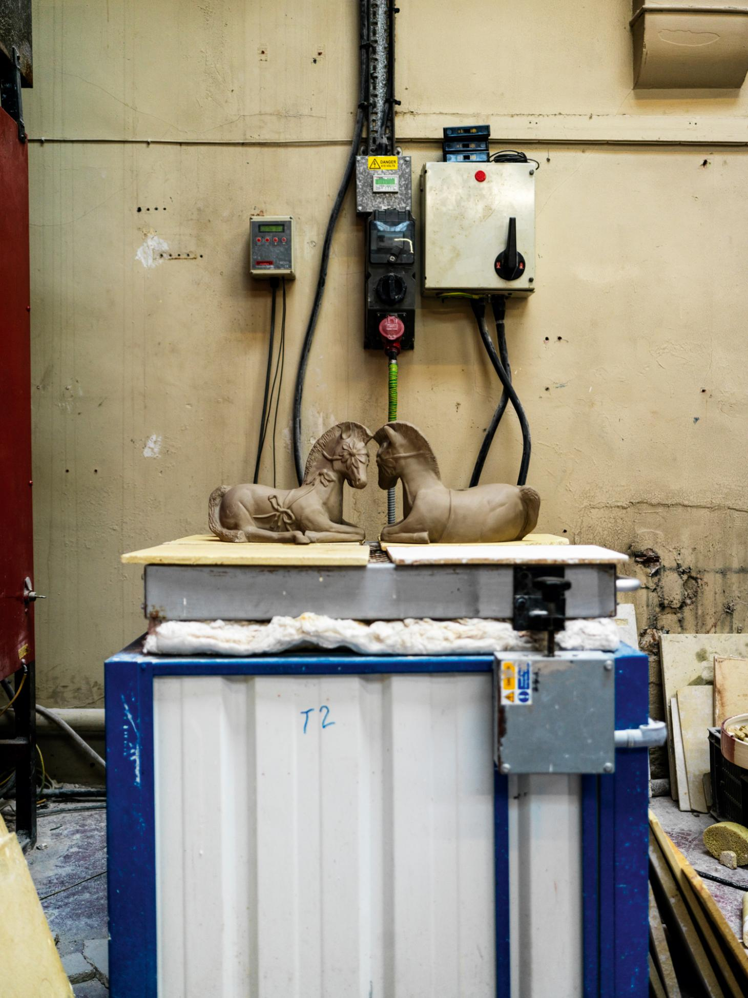 Two ceramic horses for a Jo Malone diffuser being made in a factory in Stoke on Trent