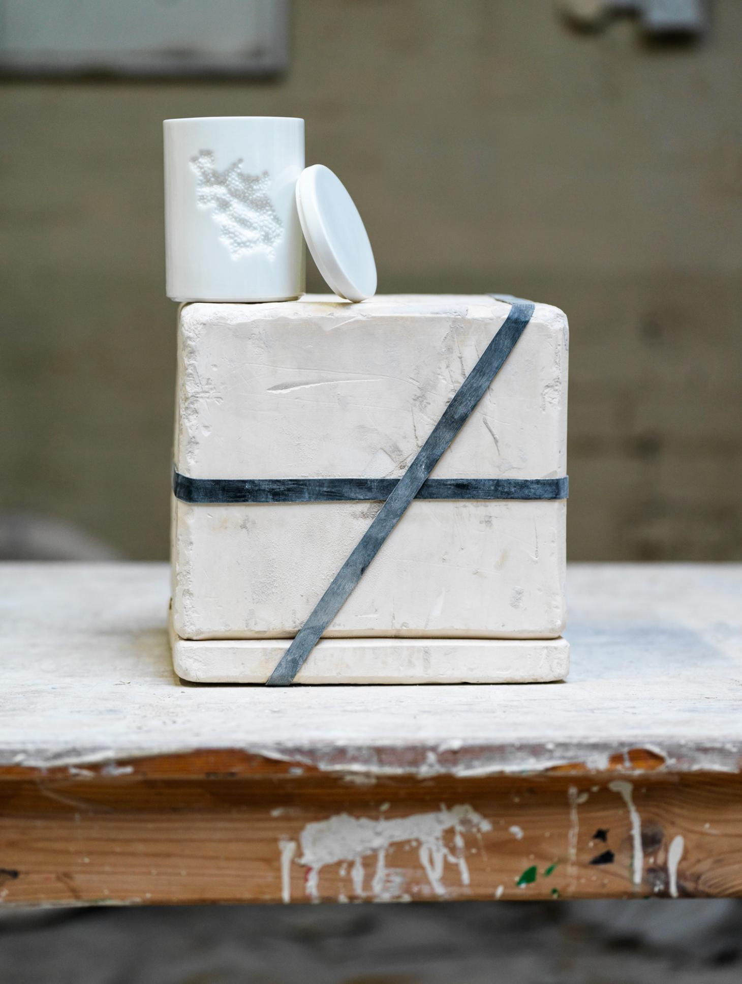White ceramic vessel by Snarkitecture photographed on its mould in the 1882 factory in Stoke on Trent