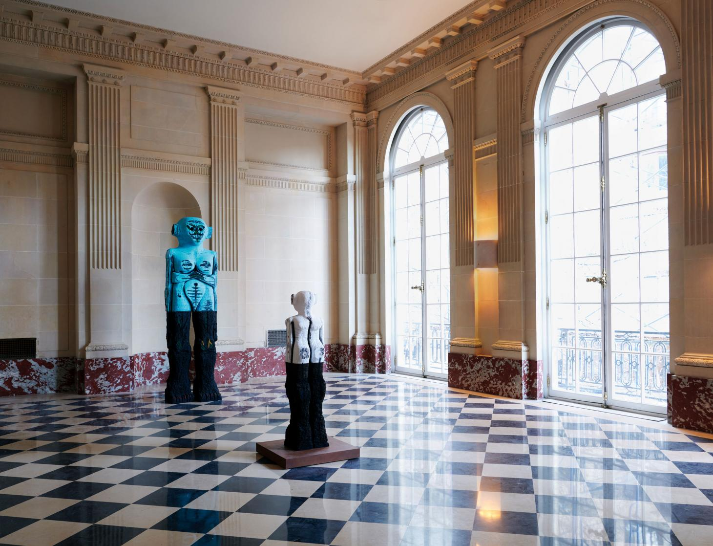 Receiver (2019) and I Can Hear Everything You Think (2020), by Pakistani- American sculptor Huma Bhabha, in the Stone Room, which features a marble chequerboard floor and a trio of fan-shaped windows at Salon 94 New York