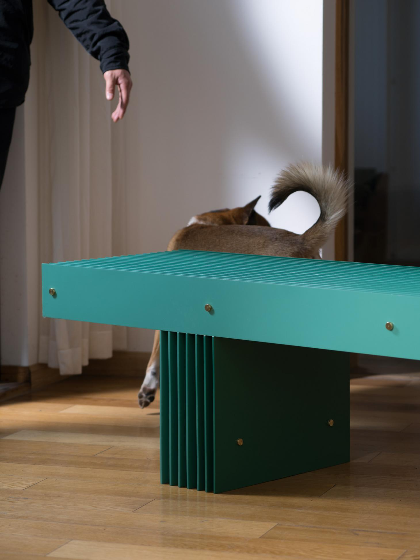 A green aluminium bench photographed in Mario Tsai's studio, visible is the designer's hand and his dog behind the bench