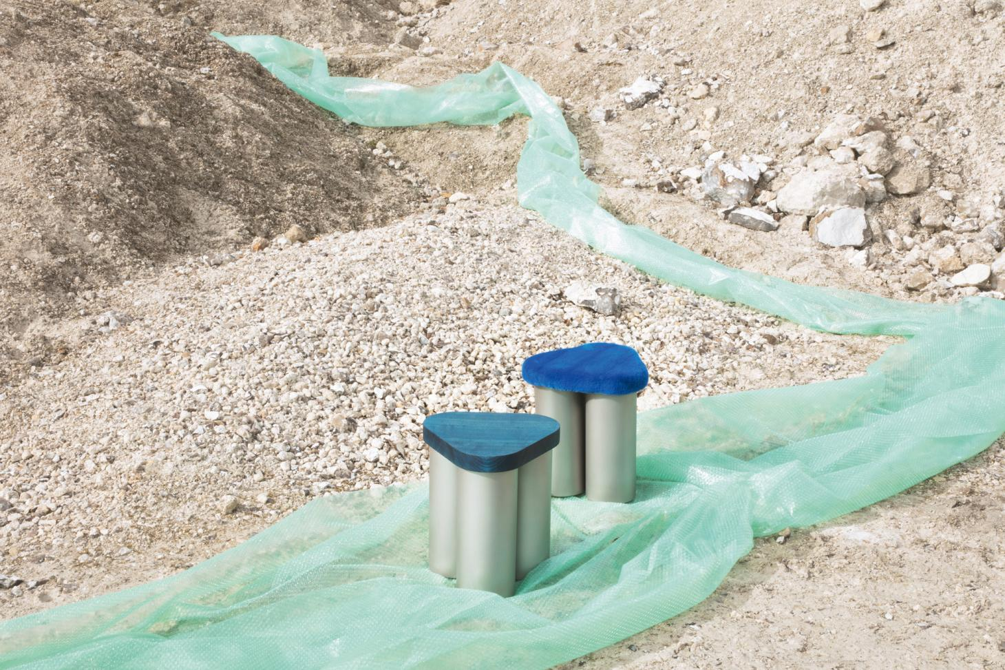 'Sit on It' stools by Poul Høilund x Tableau photographed at Faxe Kalkbrud