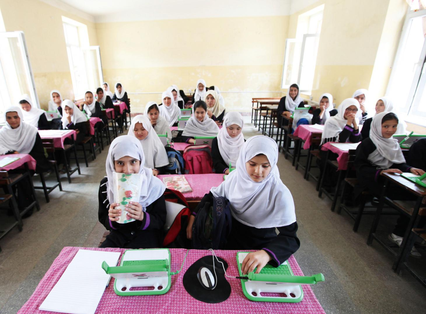 the One Laptop Per Child project used as educational aid in an Afghanistan school