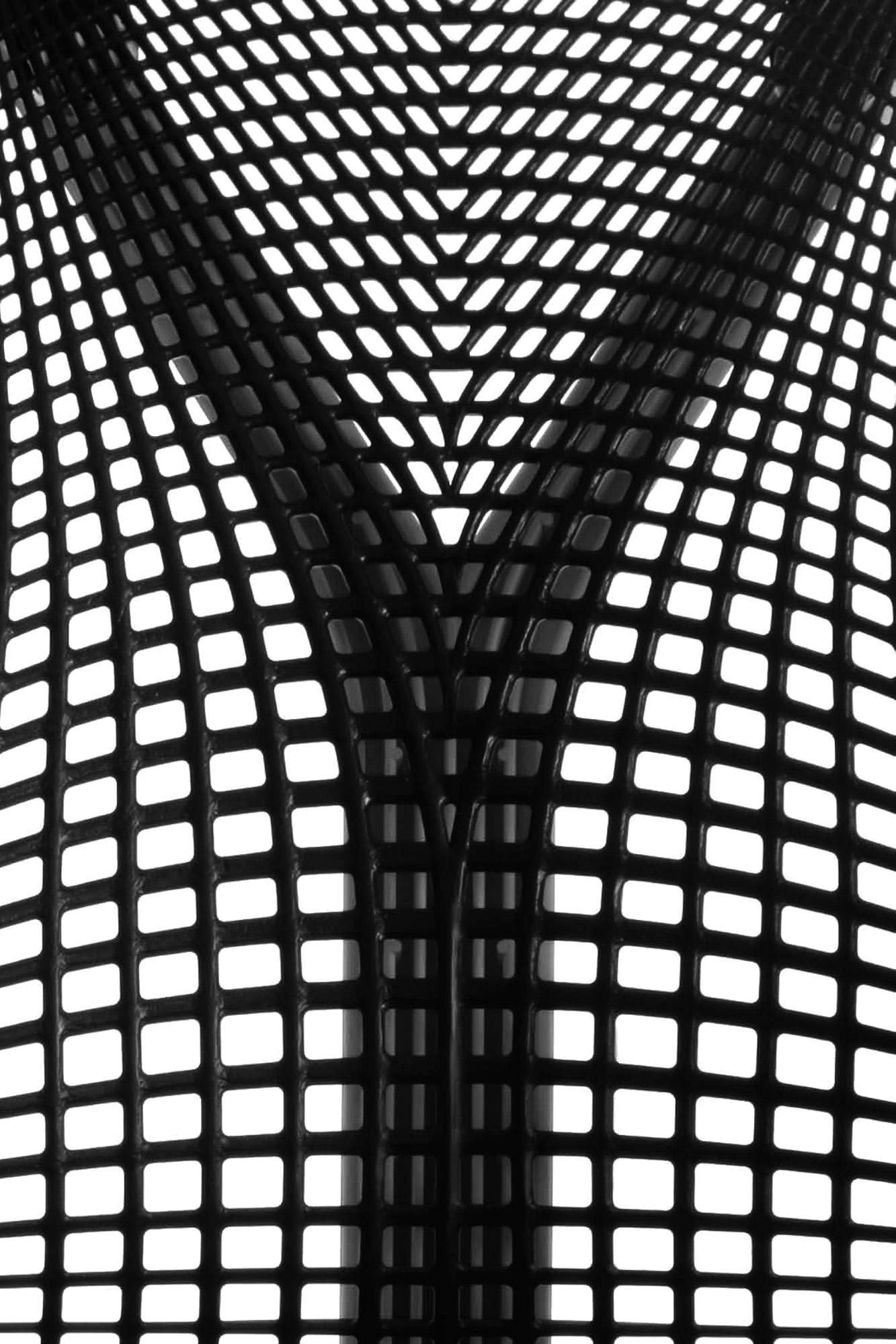 Detail shot showing the webbed back of the 'Sayl' chair by Yves Behar for Herman Miller
