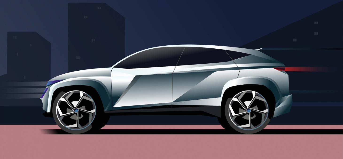 This illustration of Hyundai Vision T Plug-in Hybrid Concept showcases its eco focussed and rugged, dynamic design