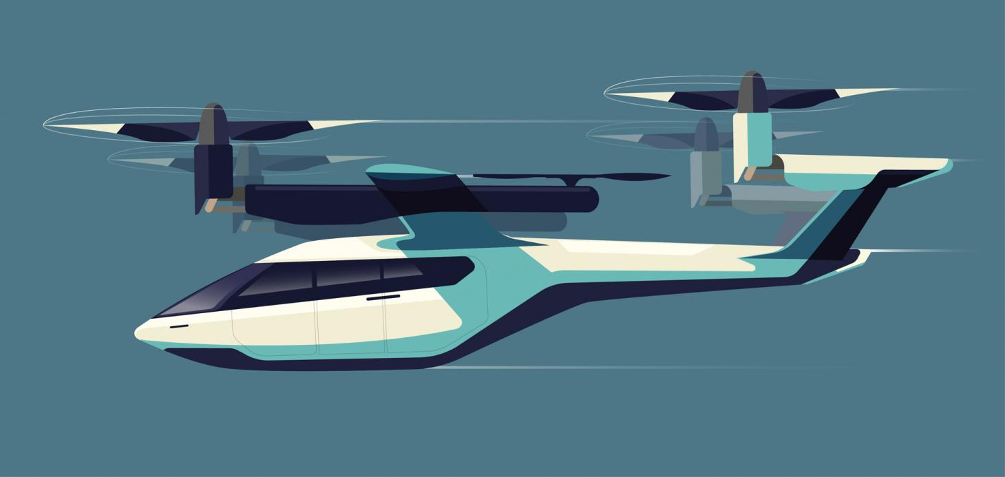 an electric flying taxi concept, the Hyundai-Uber collaboration exists as a full-scale mock-up