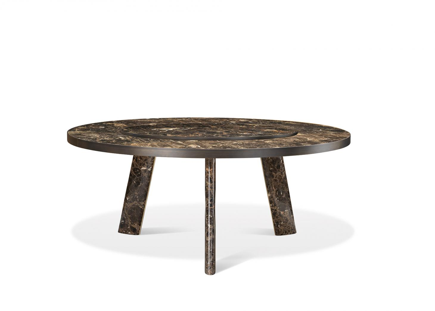 Large dining table in wood with marbled effect