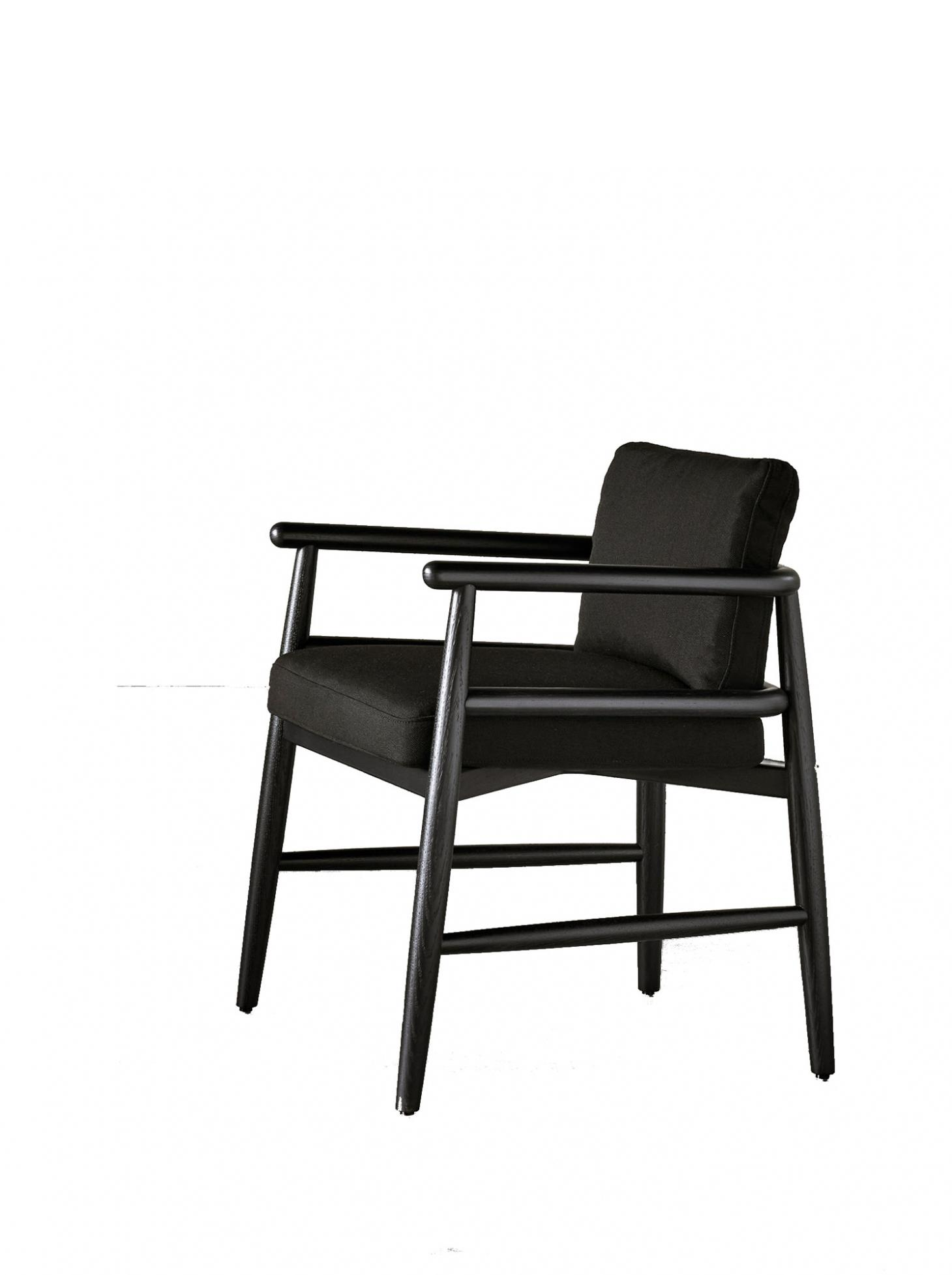 Black wooden dining chair with armrests and padded seat and back upholstered in black leather