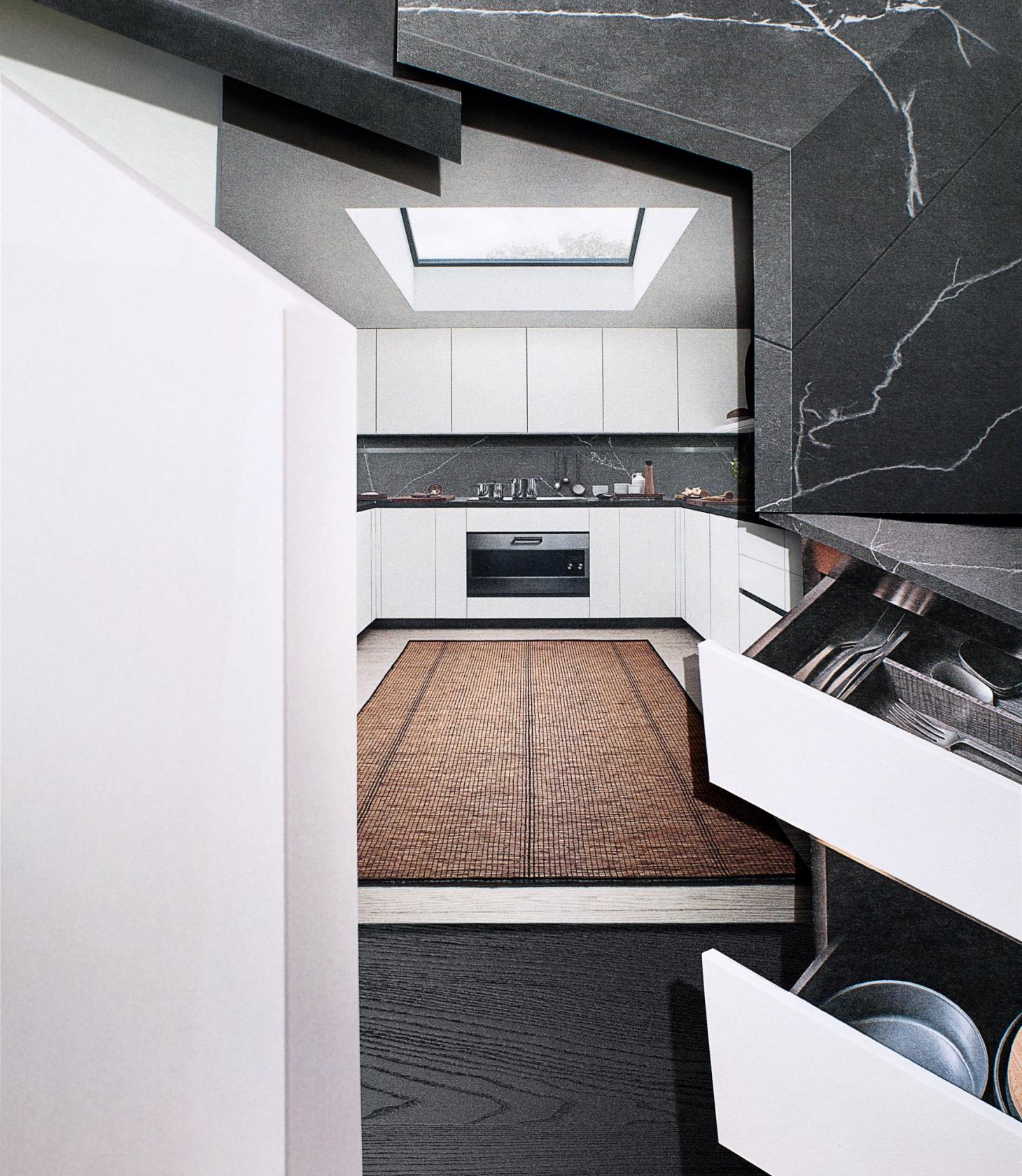 A collage of layered images showing the 'Thea' kitchen by Arclinea, featuring handle free white cupboards