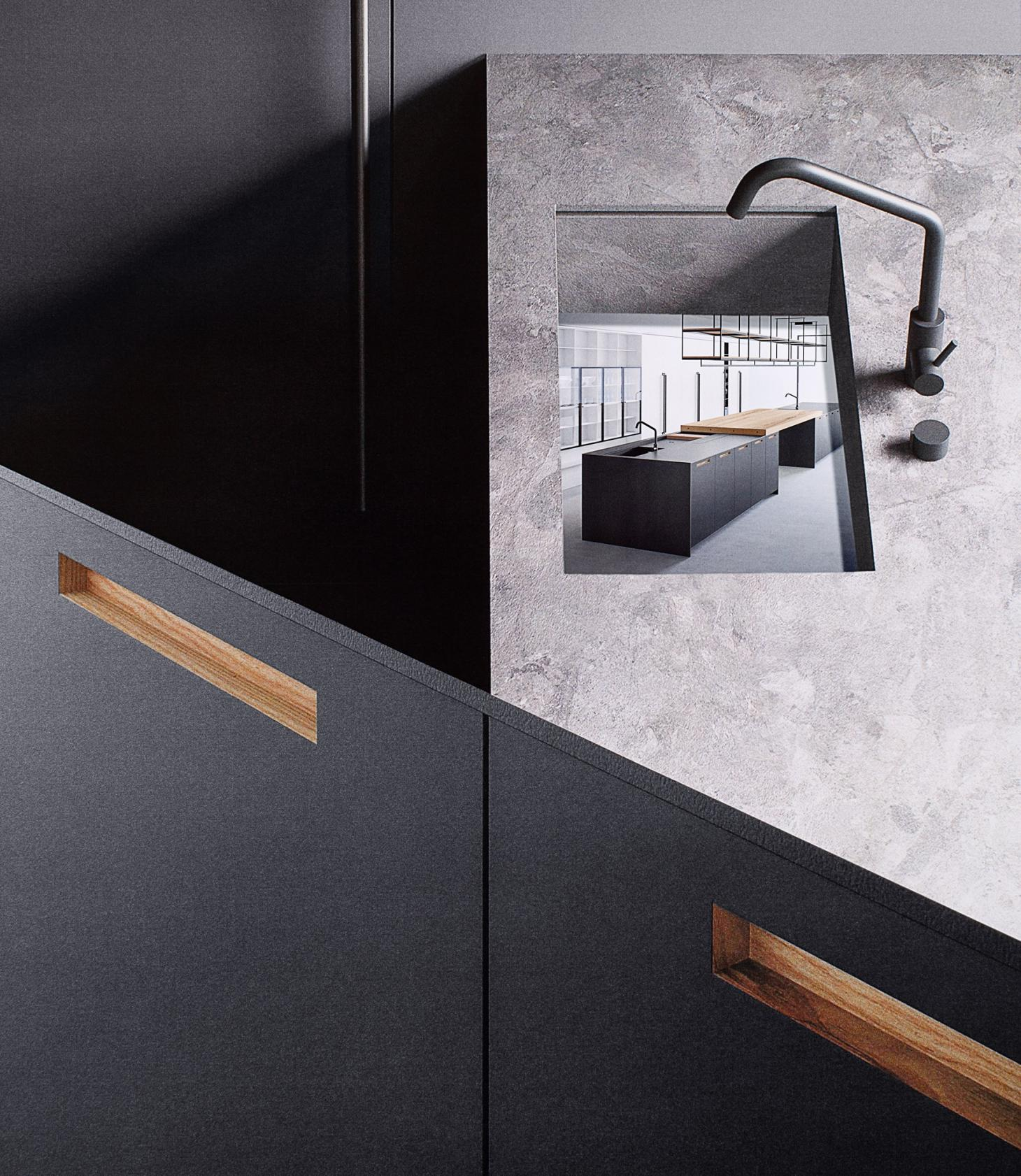 A collage of layered images showing the 'Aprile' kitchen with 'Sloane' handle by Boffi, with a detail shot showing the recessed handle in wood over a black cupboard door
