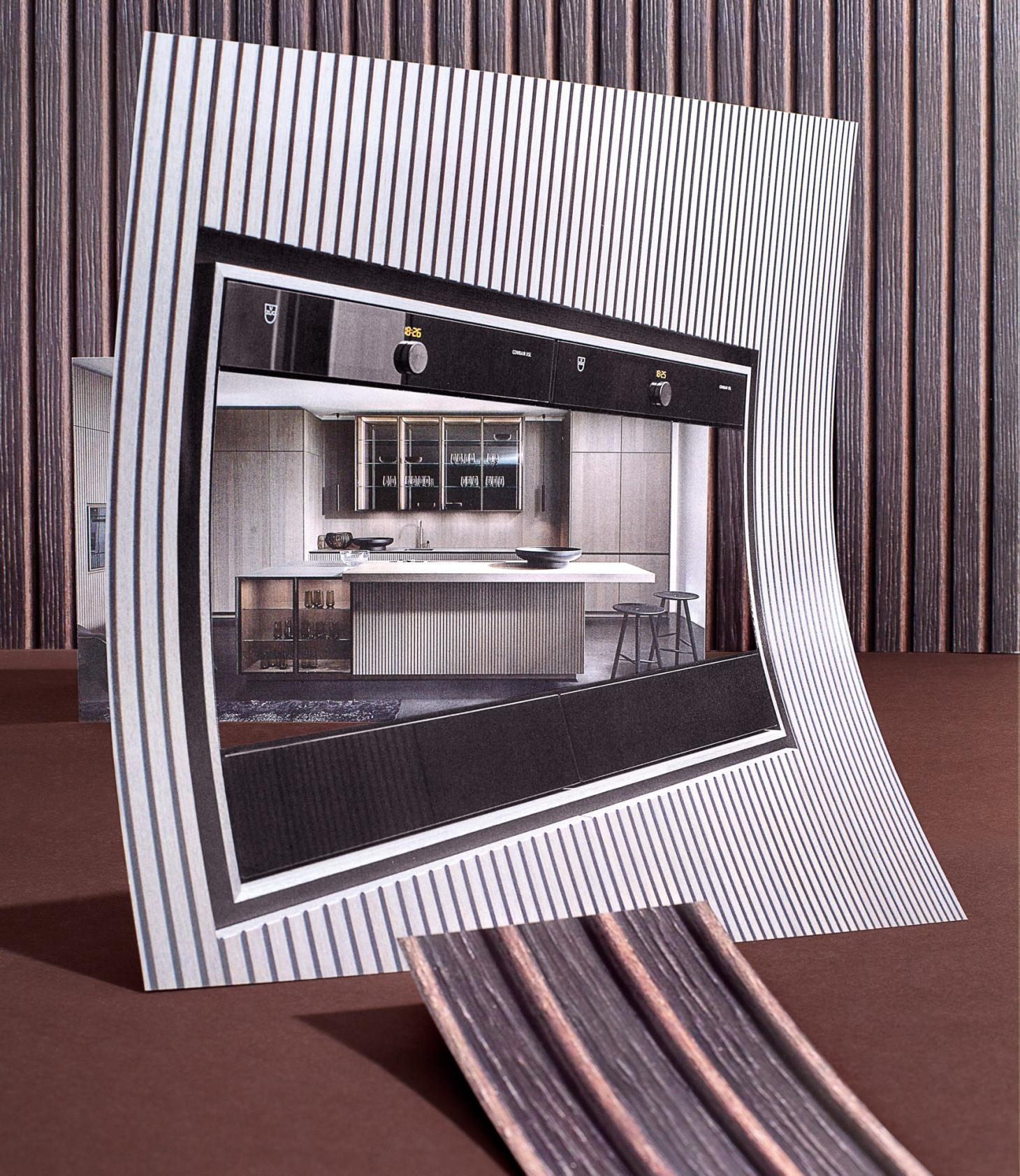A collage of layered images showing the 'Lausanne' kitchen by Eggersmann, featuring wooden ridged cupboard fronts