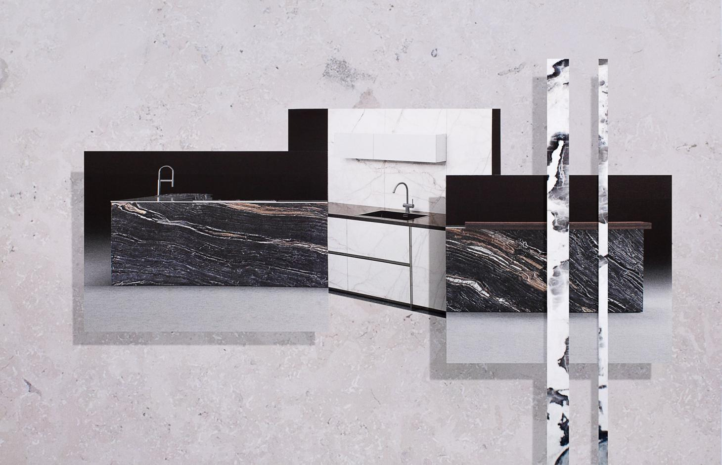 A collage of layered images showing the 'Isola' kitchen by Rossana, featuring different kinds of stone and marble