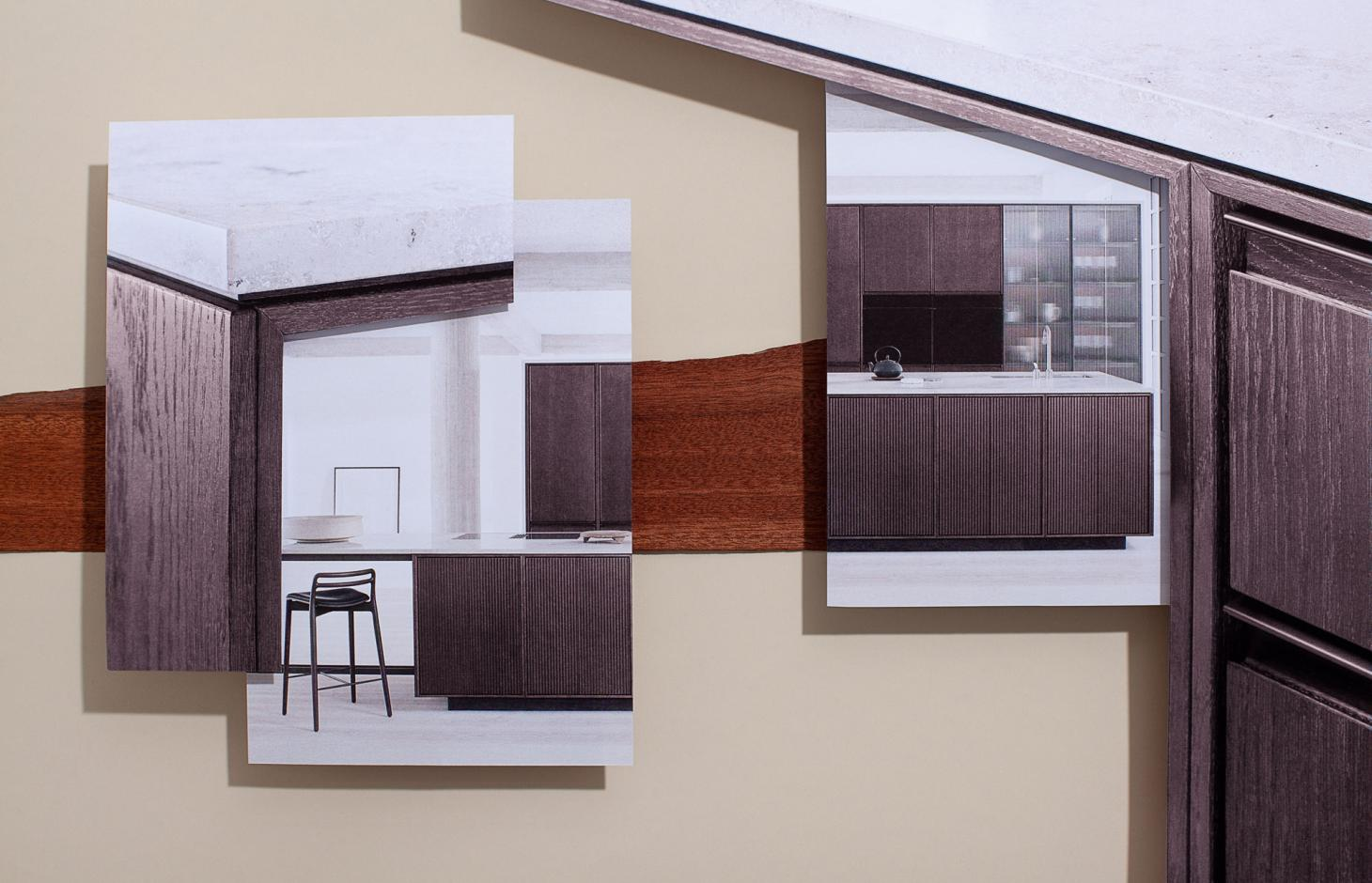 A collage of layered images showing the V2 kitchen by Vipp, featuring wooden ridged cupboard fronts