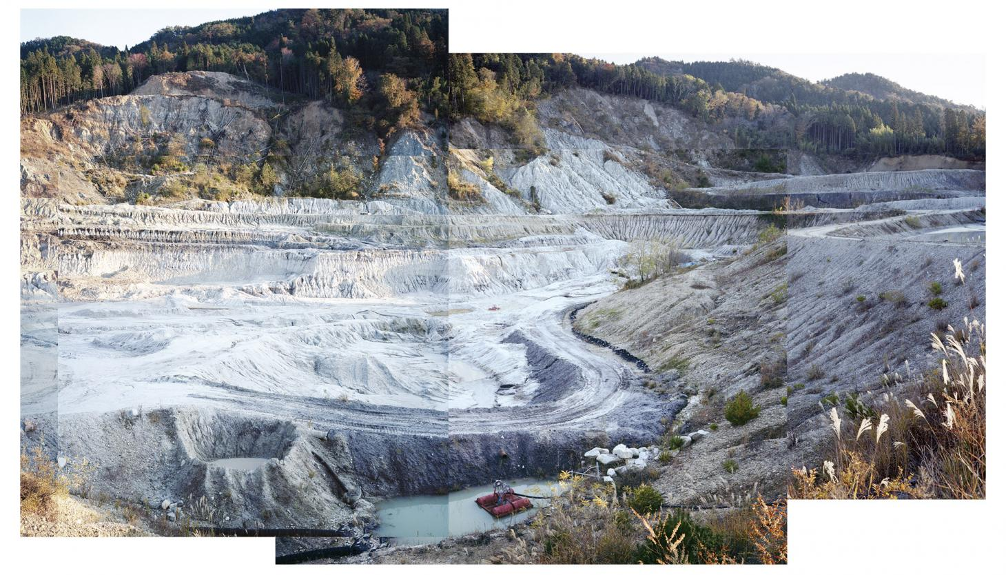 Collage of pictures showing a clay quarry in the Mino region of Japan