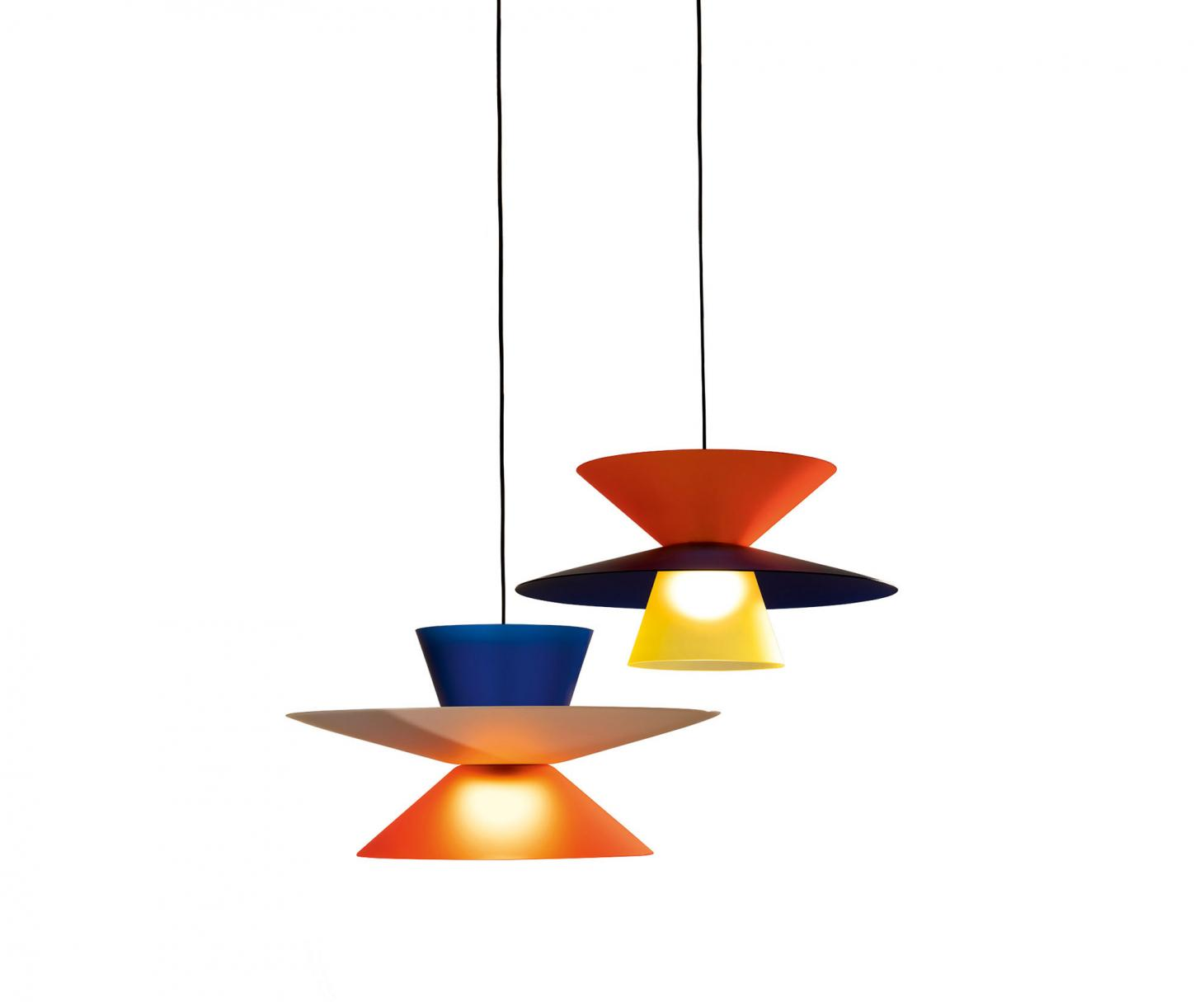 Two outdoor pendant lamps with colourful shades in orange and blue, and red and black